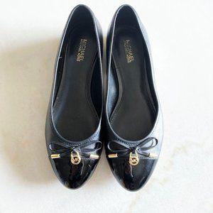 Michael Kors black & gold ballet flat shoe bow